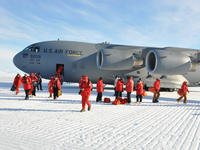 A US AIrforce C 17 Transport Plane Landed at the Ross Iceshelf Antarctica