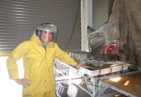 Sawing Rocks at the Tile Saw