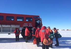 Taking Ivan the Terra bus to McMurdo Station