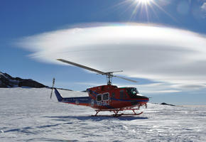 Helicopter Landing at Fang Glacier