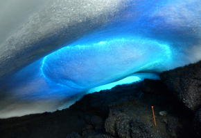 Blue Ice Roof of Hut Cave