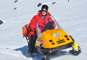 Skidooing on Mt Erebus