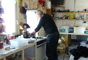 Cooking at Lower Erebus Hut