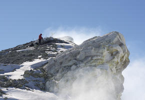 On the Crater Rim of Erebus Volcano