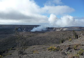 View of Halema'uma'u crater from HVO