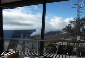 View of Halema'uma'u crater from HVO lookout tower